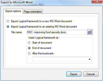 Exporting the logframe to the end of a Word document