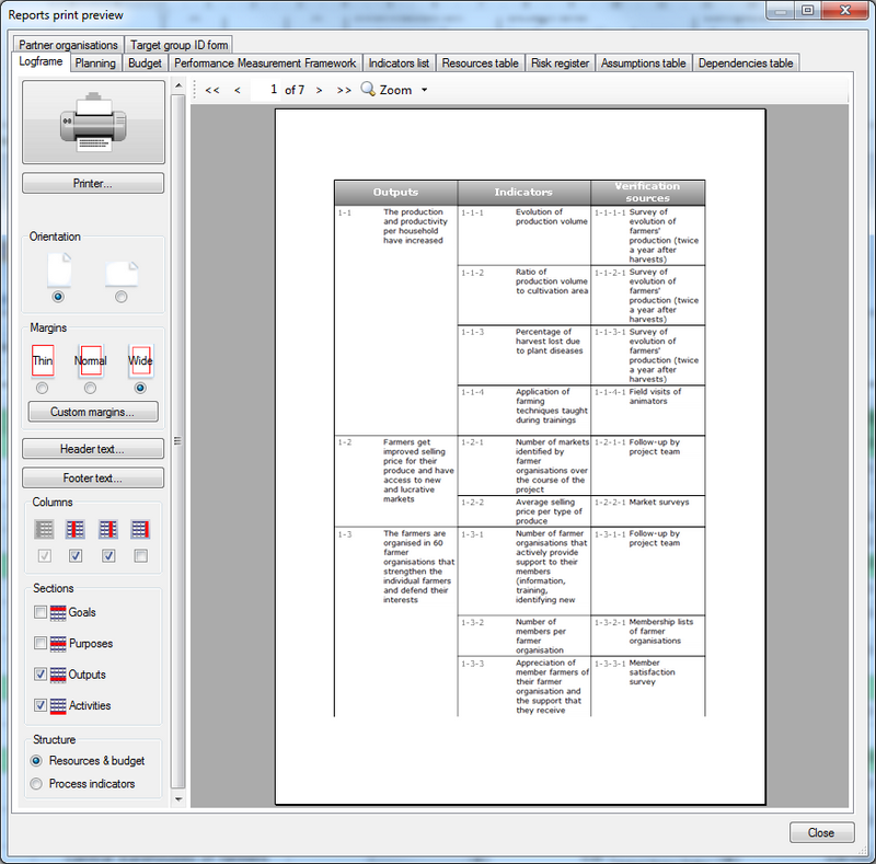 Print preview dialogue showing the logical framework