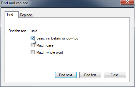 Search in Details window option