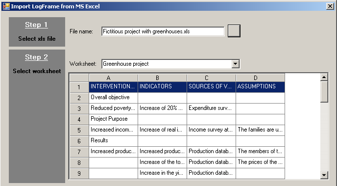 Import logframe from Excel - step 2