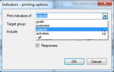 Printing options - select which indicators to print