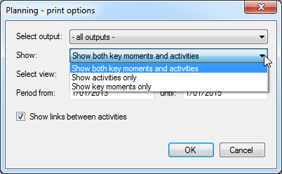 Printing options - show key moments and/or activities