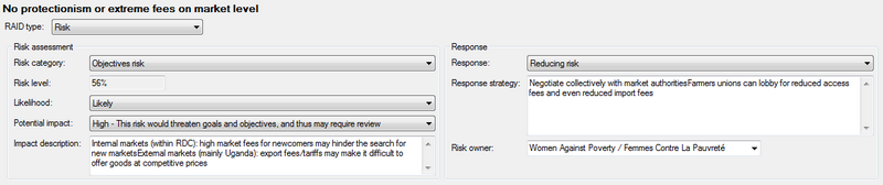 Information for the risk register in the Details pane
