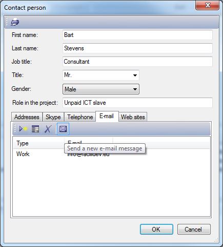 The contact dialog allows you to complete detailed information about a person