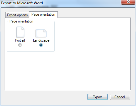 Page orientation options of the Export to Word dialogue
