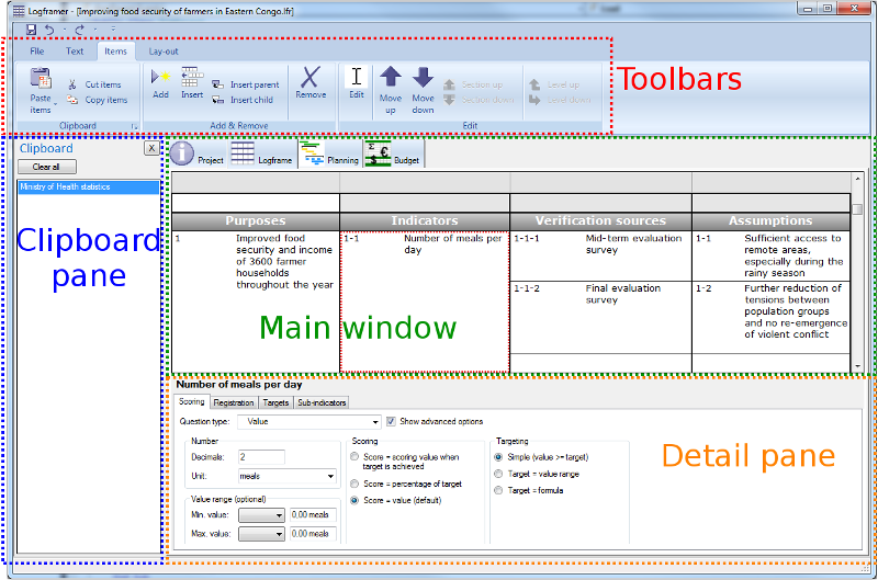 Logframer interface with toolbars, windows and panes