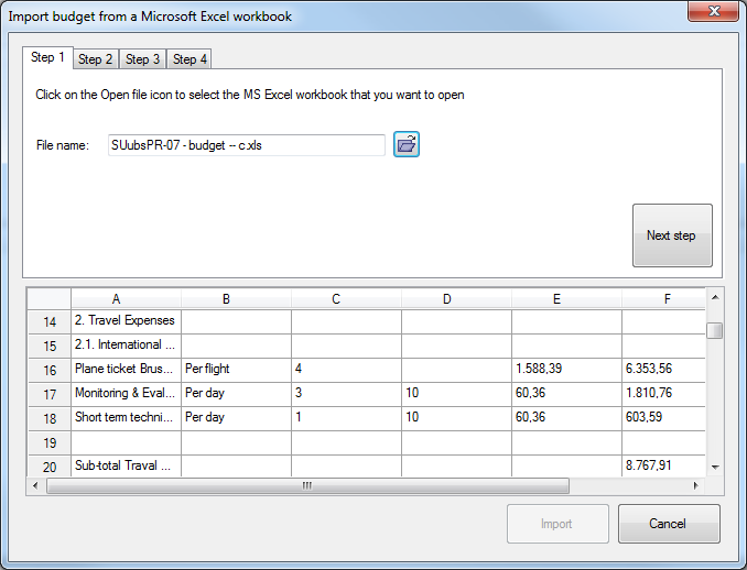 Import budget from Excel - step 1