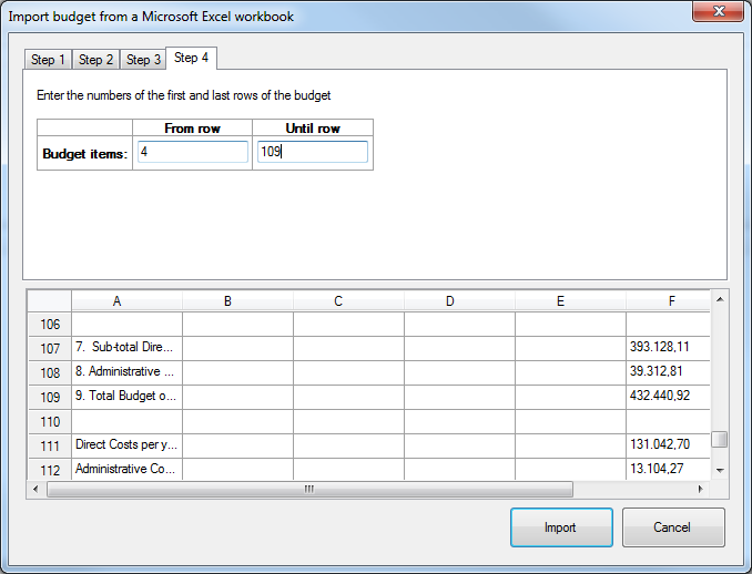Import budget from Excel - step 4