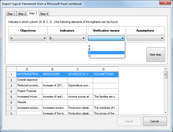 Import logframe from Excel - step 3