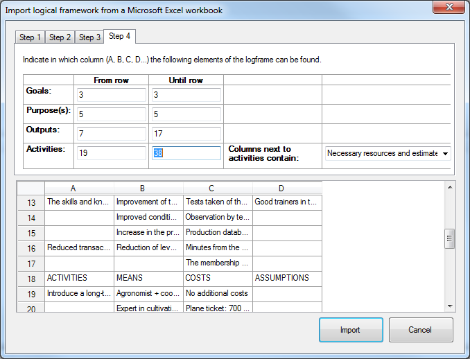 Import logframe from Excel - step 4