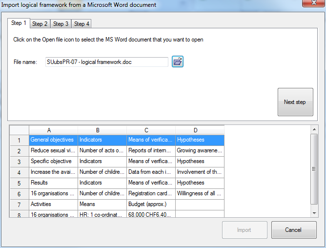 Import logframe from Word - step 1