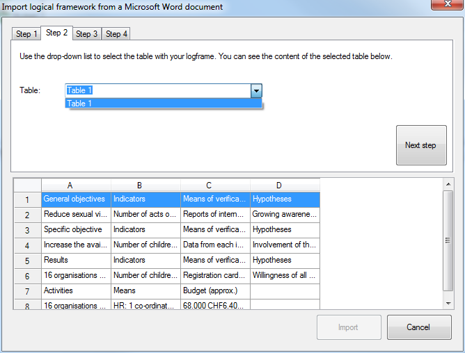 Import logframe from Word - step 2