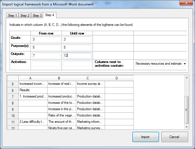Import logframe from Word - step 4