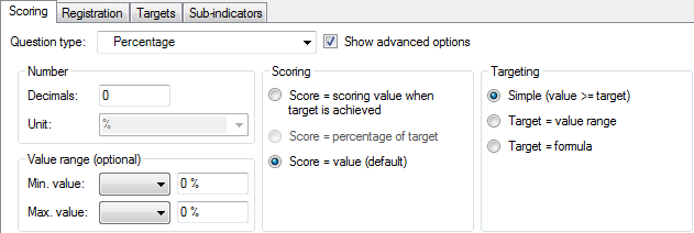 Example of the Scoring options of a Percentage-type indicator