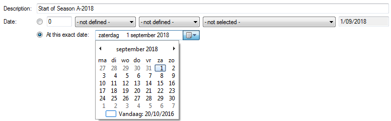 Selecting an absolute date in the key moment details pane