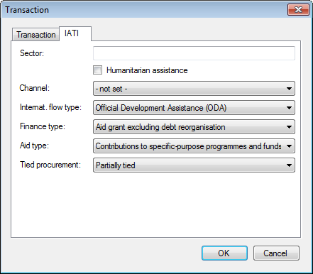 The IATI tab of the Transaction dialogue