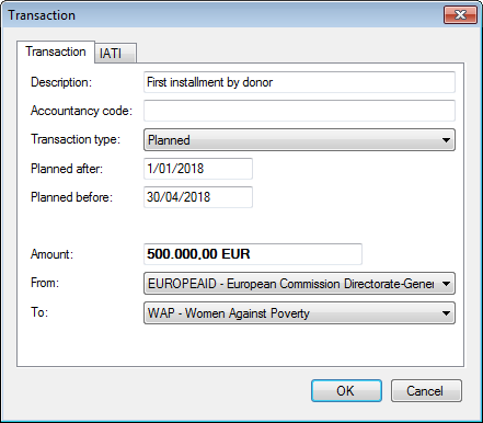 Adding a planned transaction in the Transaction dialogue