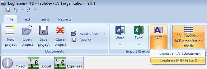Create an IATI activity file or organisation file at the push of a button