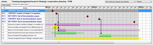 Gantt chart with overview of the activities for the current output