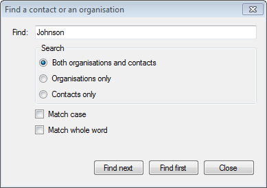 Find contacts or organisations