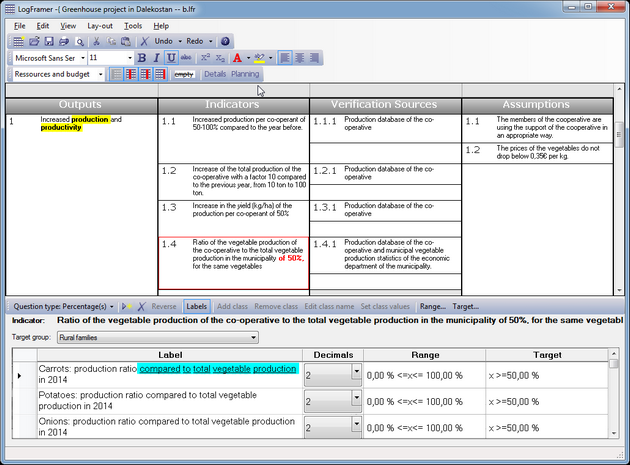 Example of rich text in the logframe and the indicator detail window