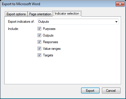 exporting the list of indicators to a microsoft word document
