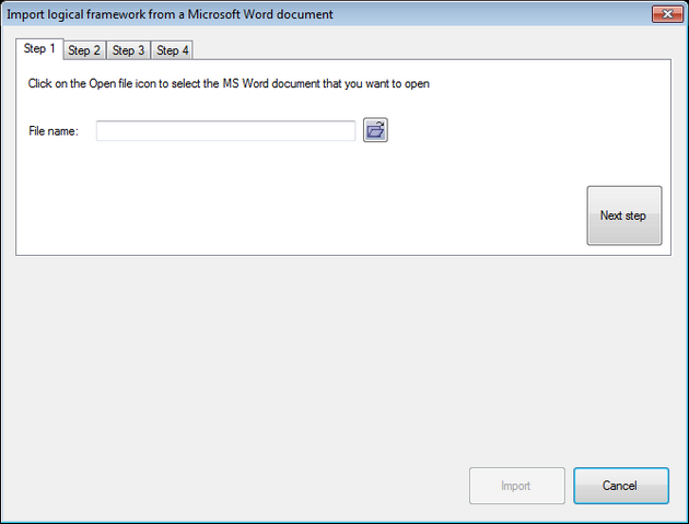 The Import Process Consists Of Four Steps Select MS Word Document